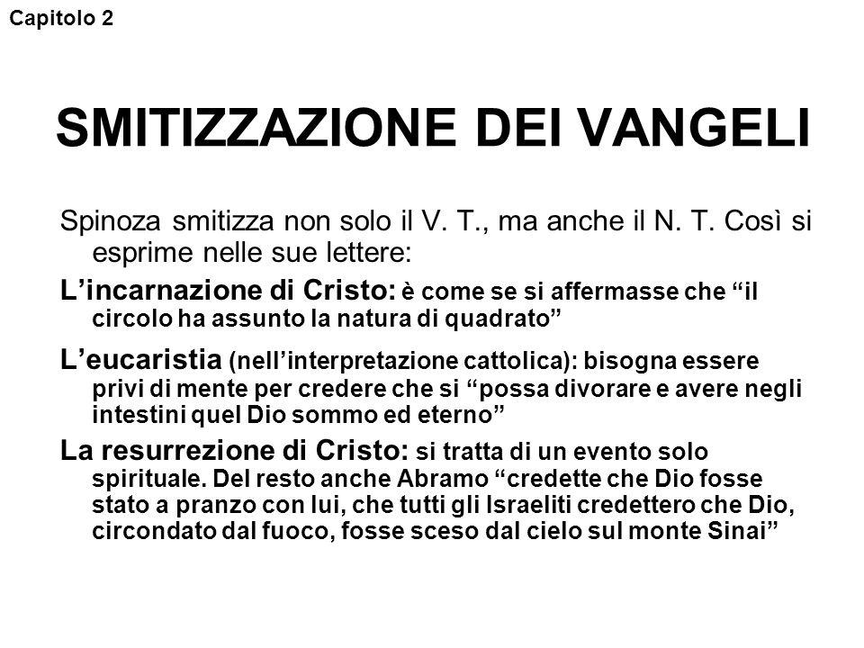 SMITIZZAZIONE DEI VANGELI Spinoza smitizza non solo il V.