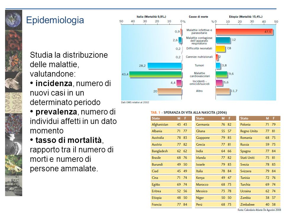 Epidemiologia La mortalità infantile in Italia è del 6 per mille, a metà del XIX secolo era superiore al 200 per mille.