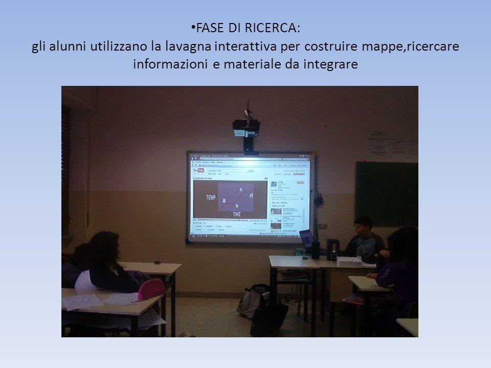FASE DI RICERCA: gli alunni utilizzano la lavagna interattiva per costruire mappe,ricercare informazioni e materiale da integrare