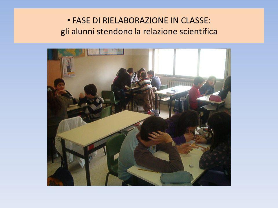 FASE DI RIELABORAZIONE IN CLASSE: gli alunni stendono la relazione scientifica