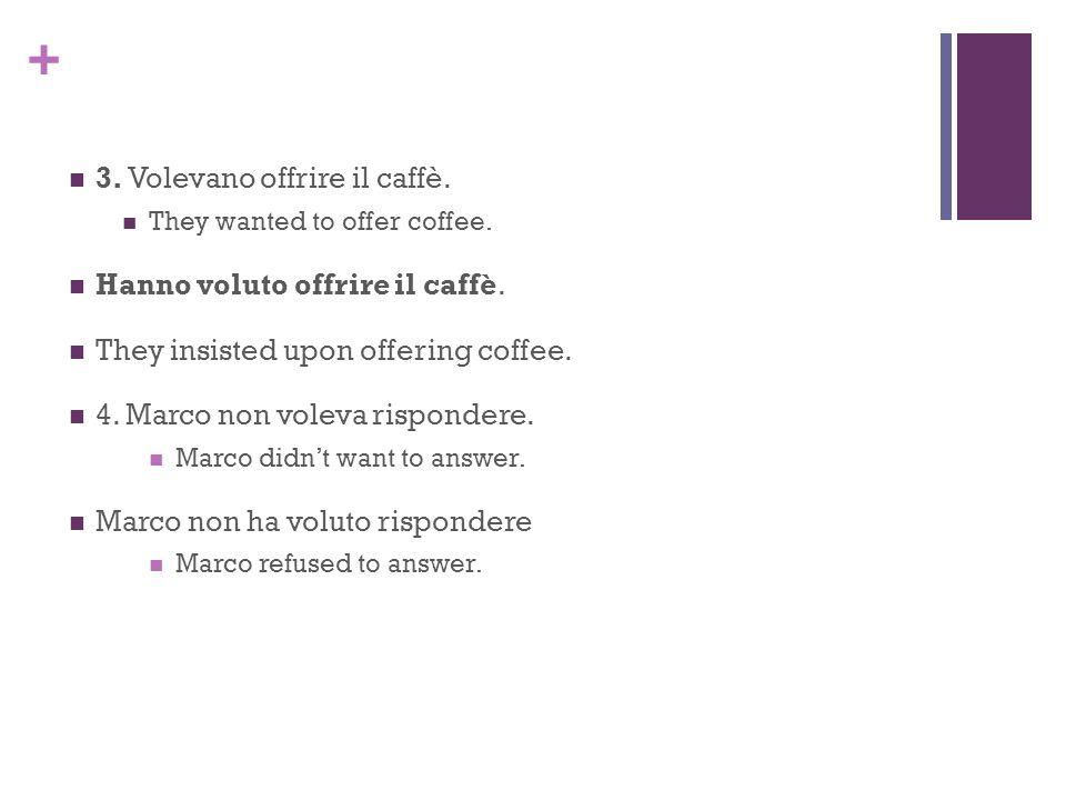 + 3. Volevano offrire il caffè. They wanted to offer coffee. Hanno voluto offrire il caffè. They insisted upon offering coffee. 4. Marco non voleva ri