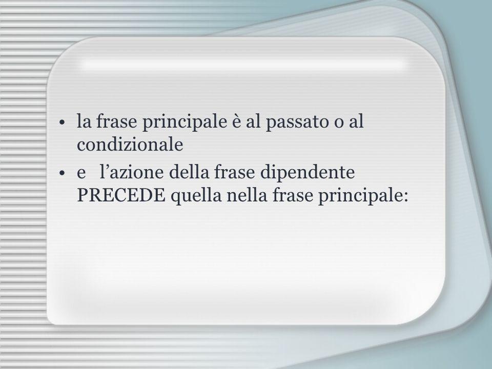 la frase principale è al passato o al condizionale e lazione della frase dipendente PRECEDE quella nella frase principale: