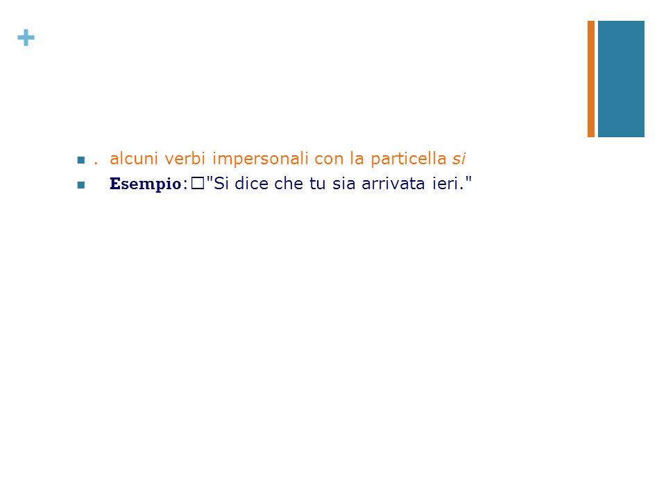 +.alcuni verbi impersonali con la particella si Esempio :