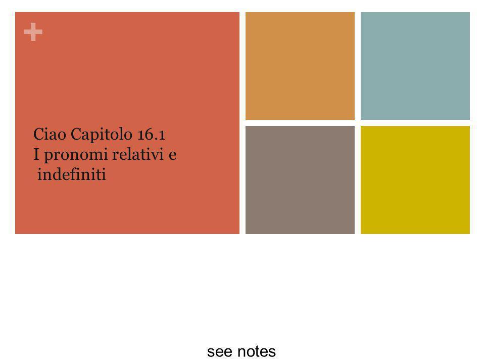 + Ciao Capitolo 16.1 I pronomi relativi e indefiniti see notes