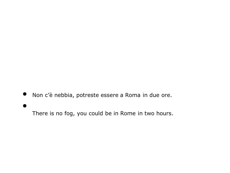 Non cè nebbia, potreste essere a Roma in due ore.