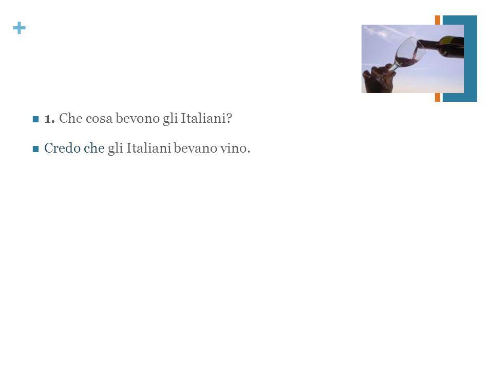 + 1. Che cosa bevono gli Italiani? Credo che gli Italiani bevano vino.
