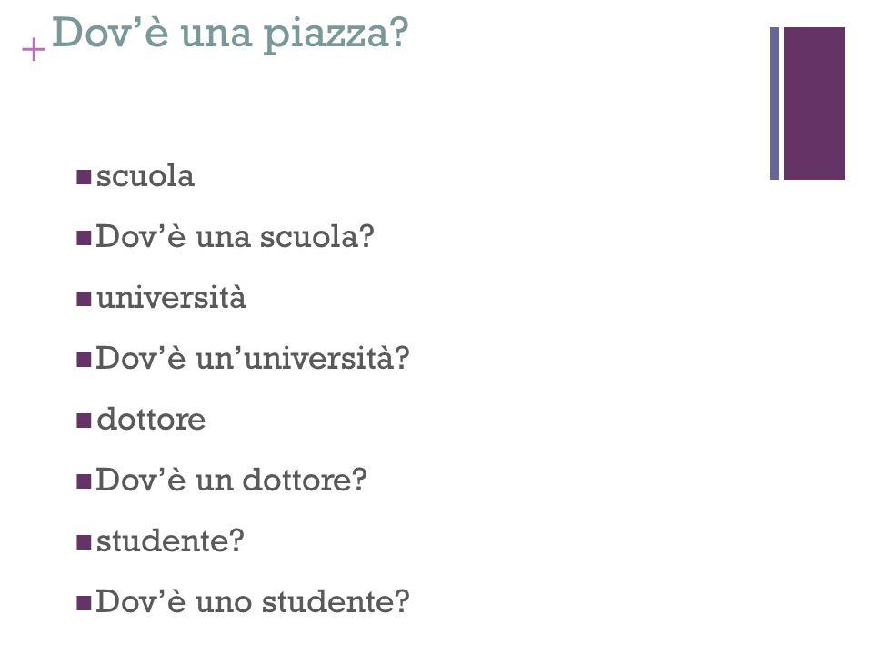 + Dovè una piazza? scuola Dovè una scuola? università Dovè ununiversità? dottore Dovè un dottore? studente? Dovè uno studente? zoo Dovè uno zoo?