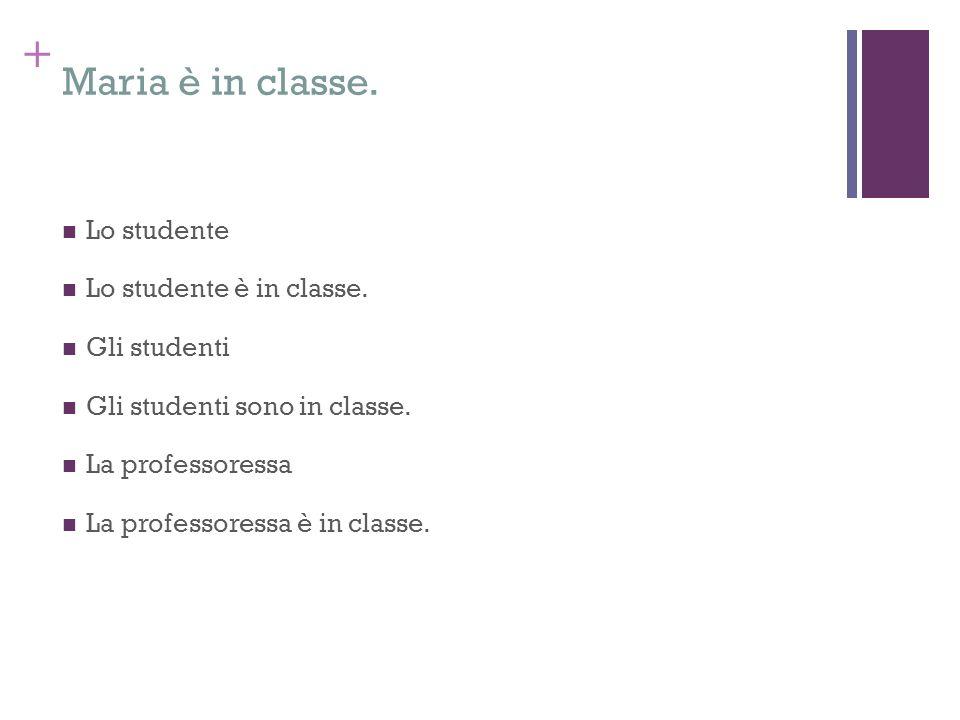 + Maria è in classe. Lo studente Lo studente è in classe. Gli studenti Gli studenti sono in classe. La professoressa La professoressa è in classe.