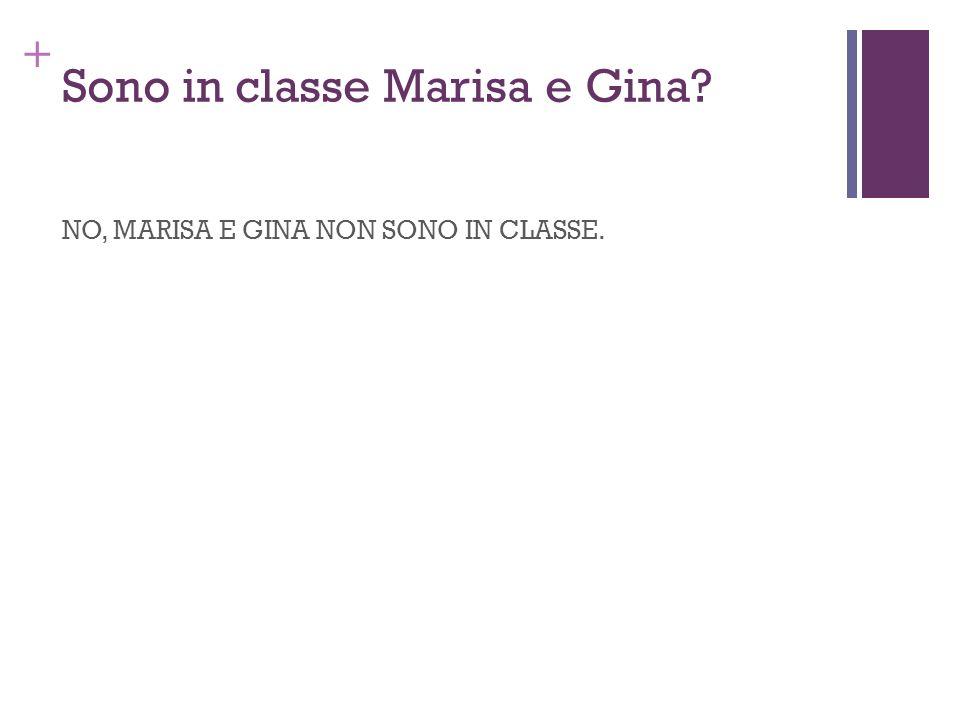 + Sono in classe Marisa e Gina? NO, MARISA E GINA NON SONO IN CLASSE.