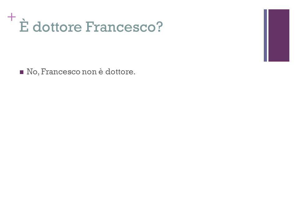 + È dottore Francesco? No, Francesco non è dottore.