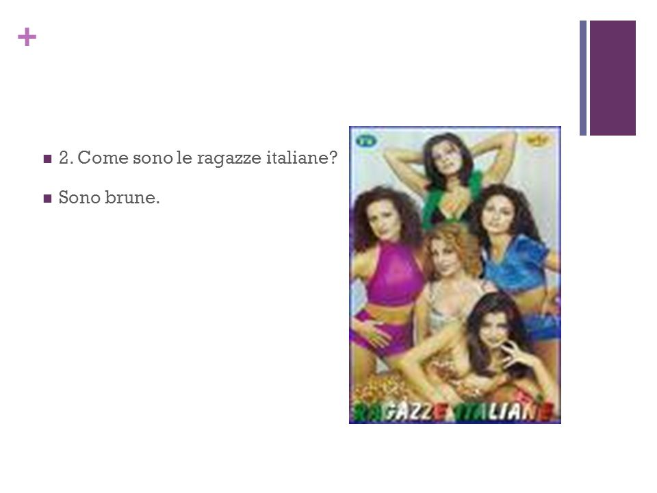 + 2. Come sono le ragazze italiane? Sono brune.