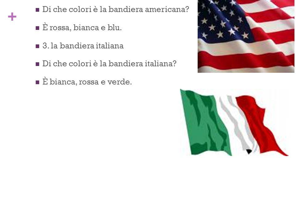 + 2. la bandiera americana Di che colori è la bandiera americana? È rossa, bianca e blu. 3. la bandiera italiana Di che colori è la bandiera italiana?