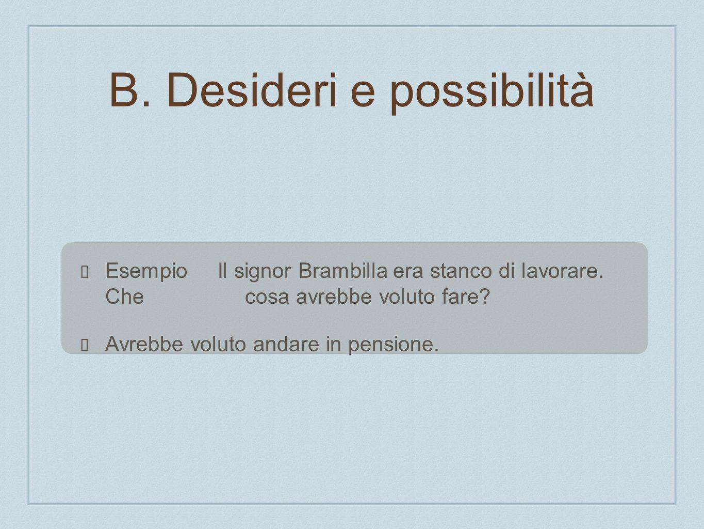 Esempio Il signor Brambilla era stanco di lavorare. Che cosa avrebbe voluto fare? Avrebbe voluto andare in pensione. B. Desideri e possibilità