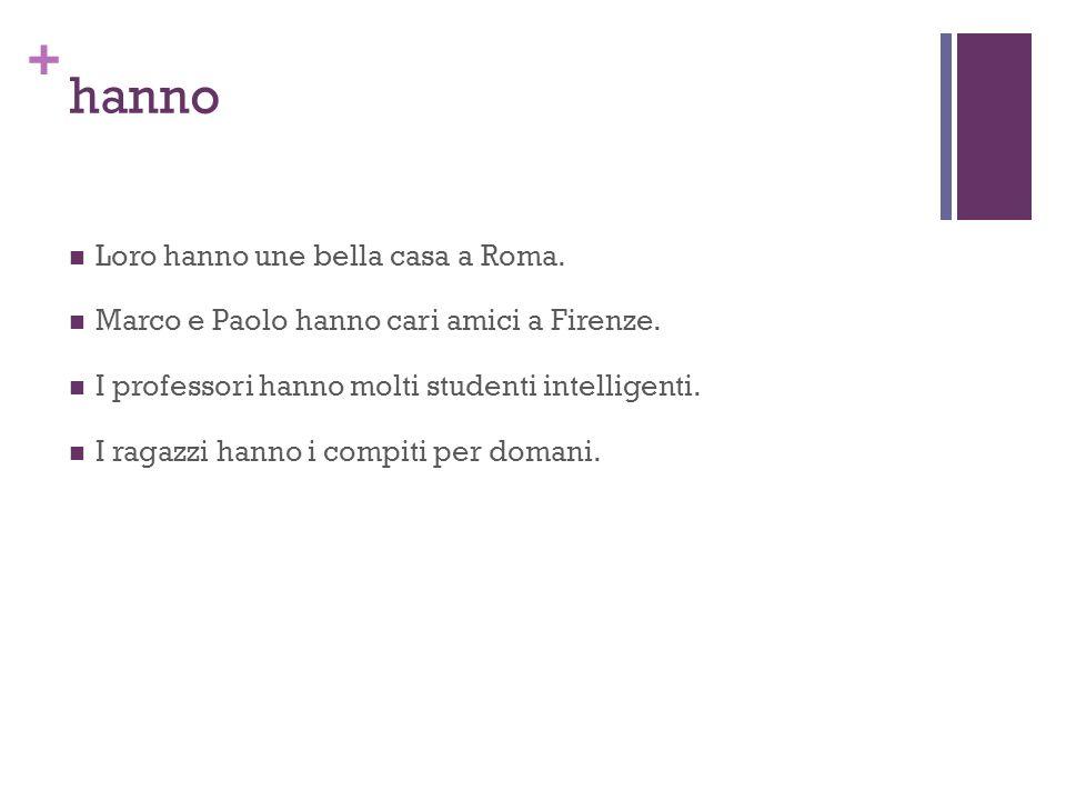 + hanno Loro hanno une bella casa a Roma.Marco e Paolo hanno cari amici a Firenze.
