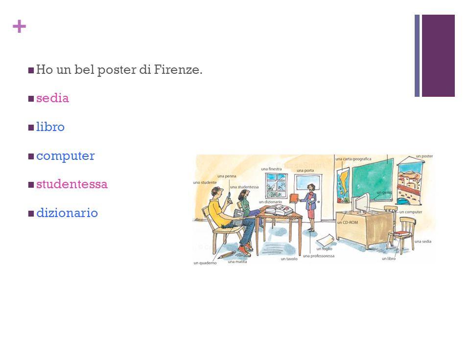 + Ho un bel poster di Firenze. sedia libro computer studentessa dizionario