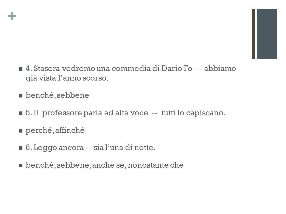 + 4. Stasera vedremo una commedia di Dario Fo -- abbiamo già vista lanno scorso.