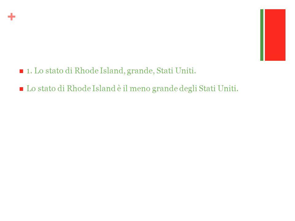 + 1. Lo stato di Rhode Island, grande, Stati Uniti. Lo stato di Rhode Island è il meno grande degli Stati Uniti.