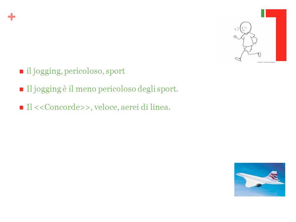 + il jogging, pericoloso, sport Il jogging è il meno pericoloso degli sport. Il >, veloce, aerei di linea.
