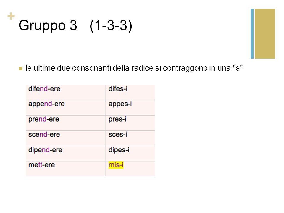 + Gruppo 3 (1-3-3) le ultime due consonanti della radice si contraggono in una