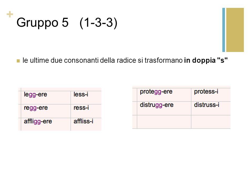 + Gruppo 5 (1-3-3) le ultime due consonanti della radice si trasformano in doppia