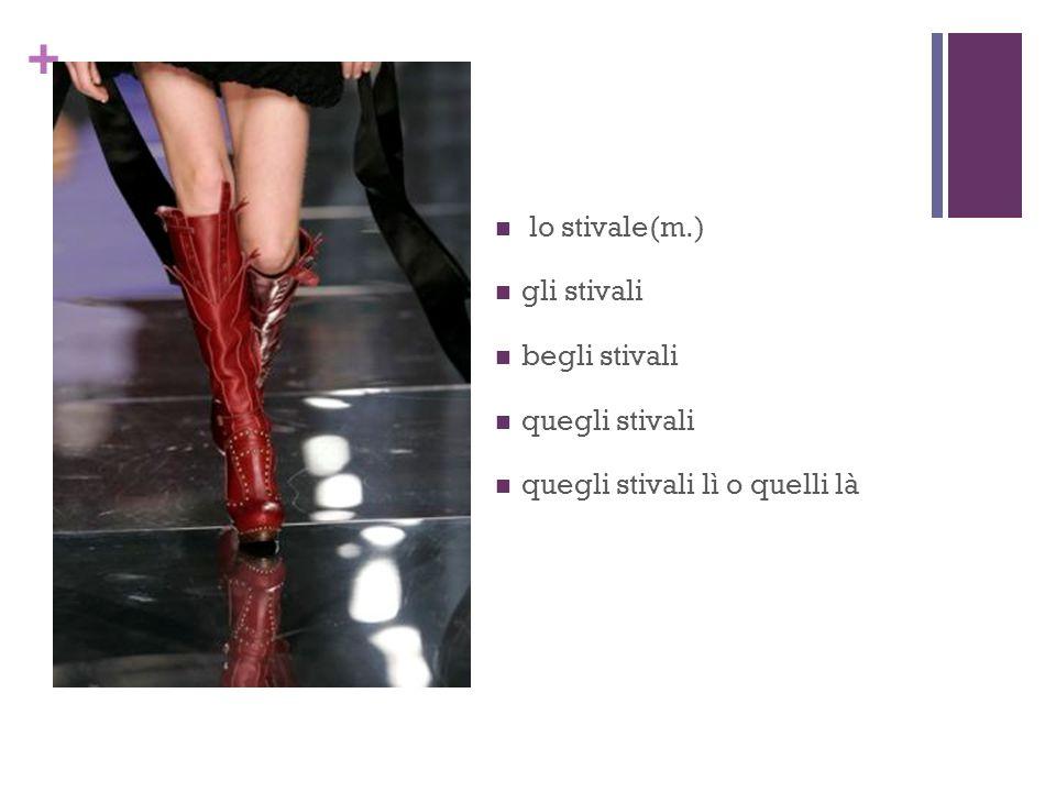 + lo stivale(m.) gli stivali begli stivali quegli stivali quegli stivali lì o quelli là