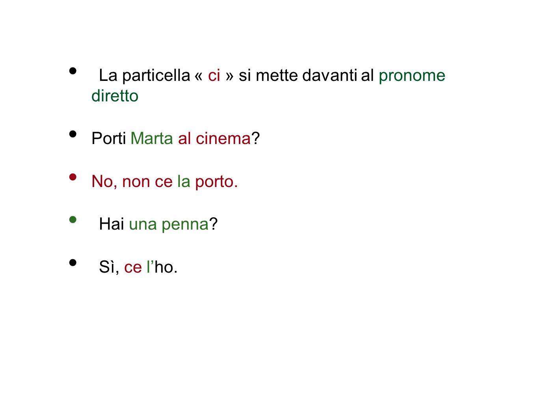 La particella « ci » si mette davanti al pronome diretto Porti Marta al cinema.