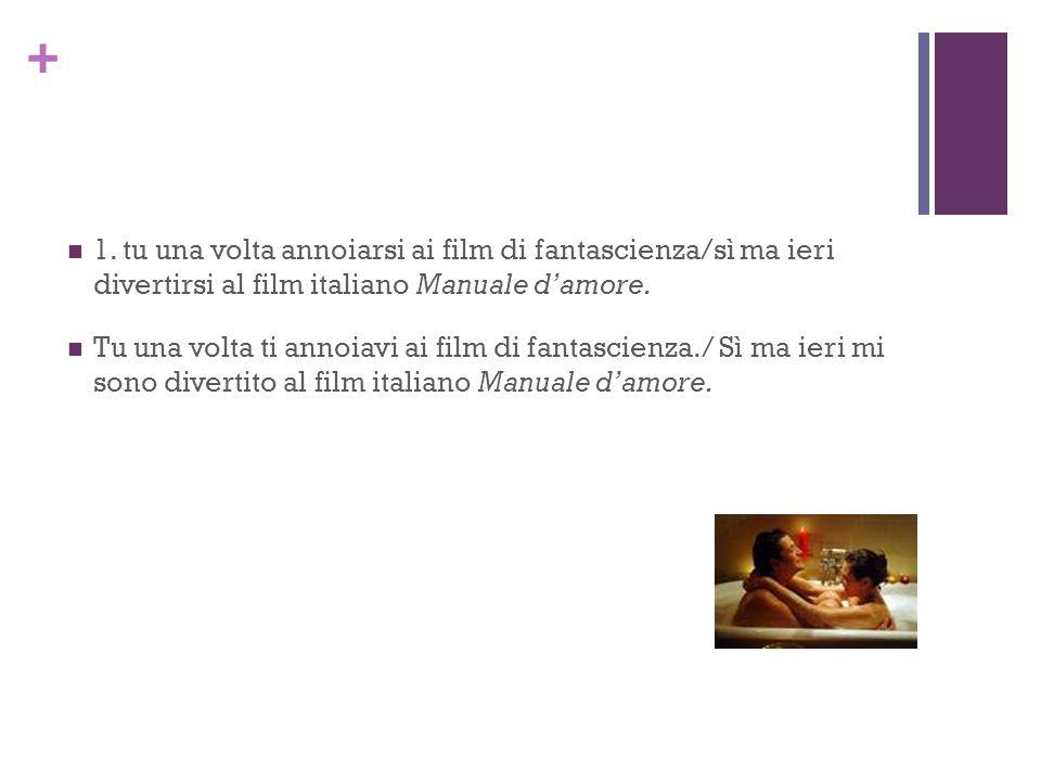 + 1. tu una volta annoiarsi ai film di fantascienza/sì ma ieri divertirsi al film italiano Manuale damore. Tu una volta ti annoiavi ai film di fantasc