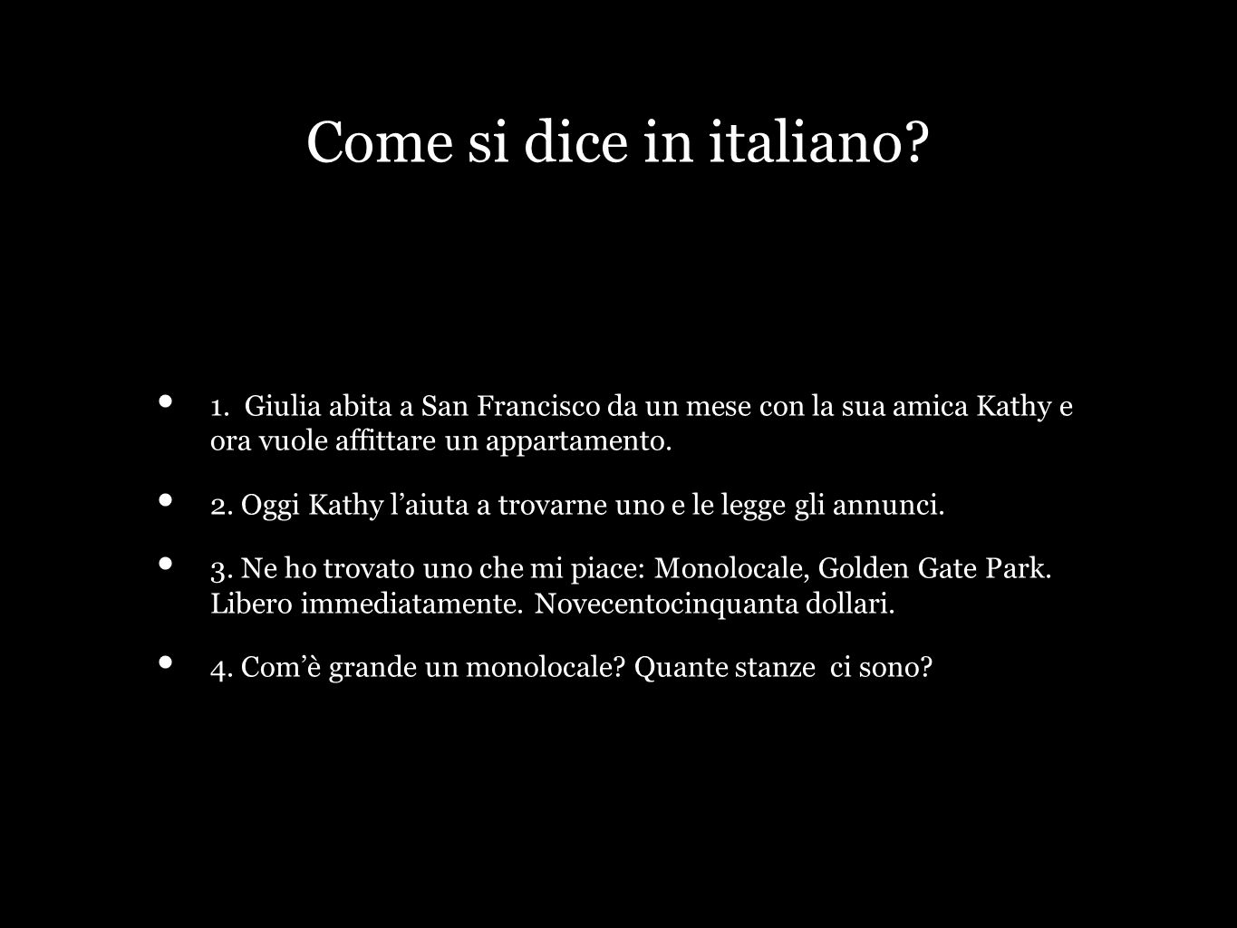Come si dice in italiano. 1.