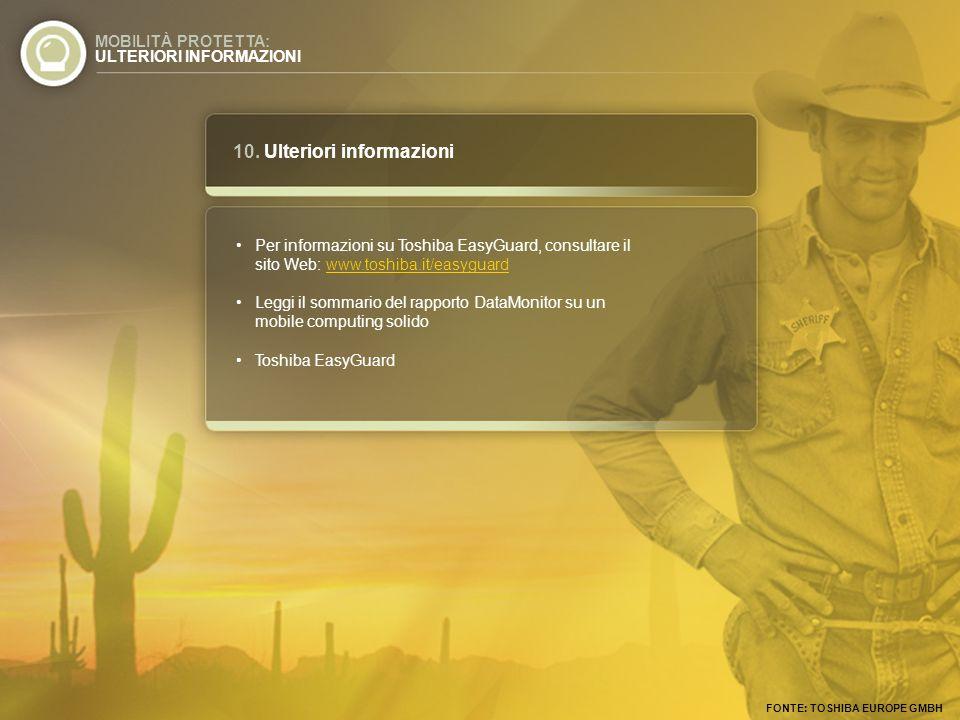 10. Ulteriori informazioni MOBILITÀ PROTETTA: ULTERIORI INFORMAZIONI Per informazioni su Toshiba EasyGuard, consultare il sito Web: www.toshiba.it/eas