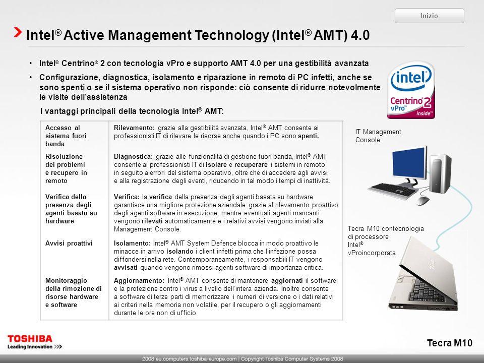 Intel ® Centrino ® 2 con tecnologia vPro e supporto AMT 4.0 per una gestibilità avanzata Configurazione, diagnostica, isolamento e riparazione in remo