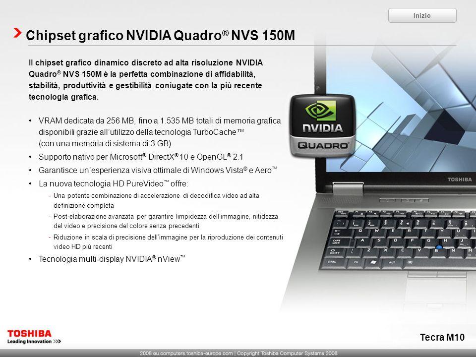 Il chipset grafico dinamico discreto ad alta risoluzione NVIDIA Quadro ® NVS 150M è la perfetta combinazione di affidabilità, stabilità, produttività