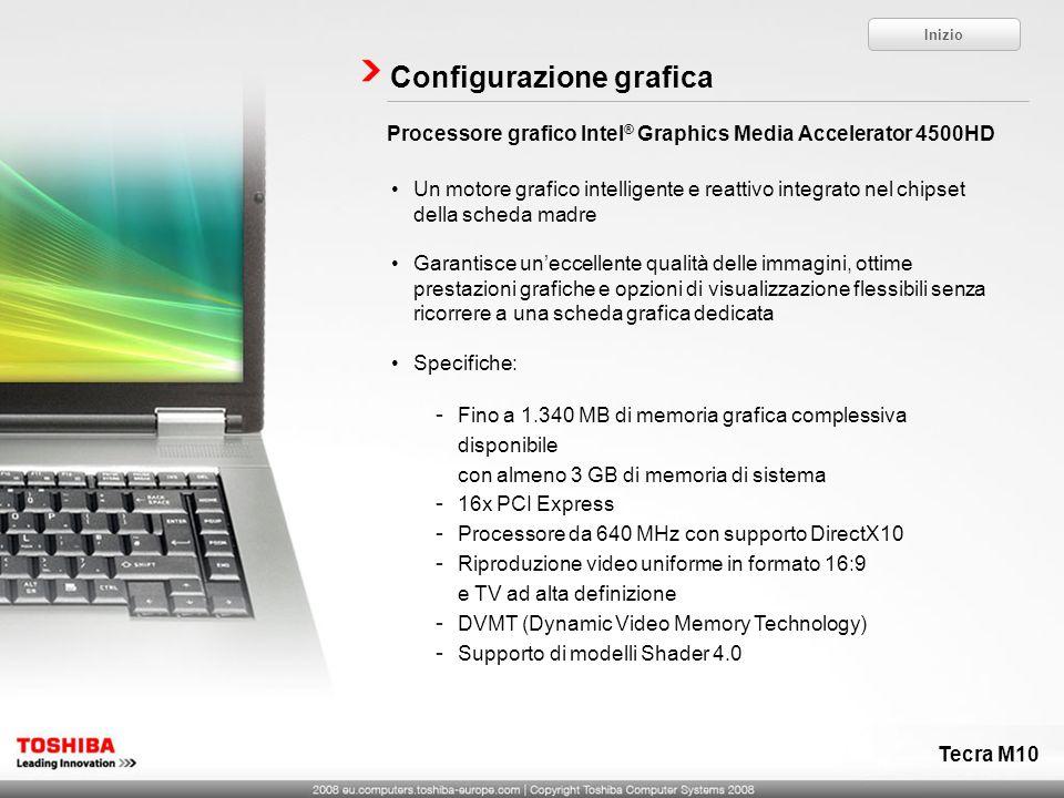 Processore grafico Intel ® Graphics Media Accelerator 4500HD Configurazione grafica Un motore grafico intelligente e reattivo integrato nel chipset de