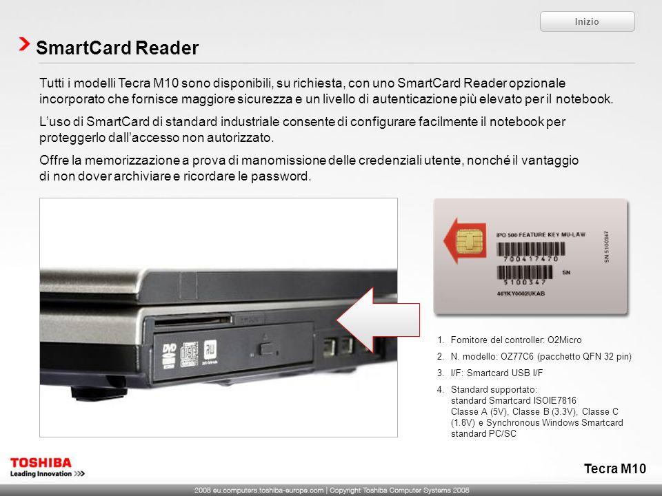 Tecra M10 SmartCard Reader Tutti i modelli Tecra M10 sono disponibili, su richiesta, con uno SmartCard Reader opzionale incorporato che fornisce maggi