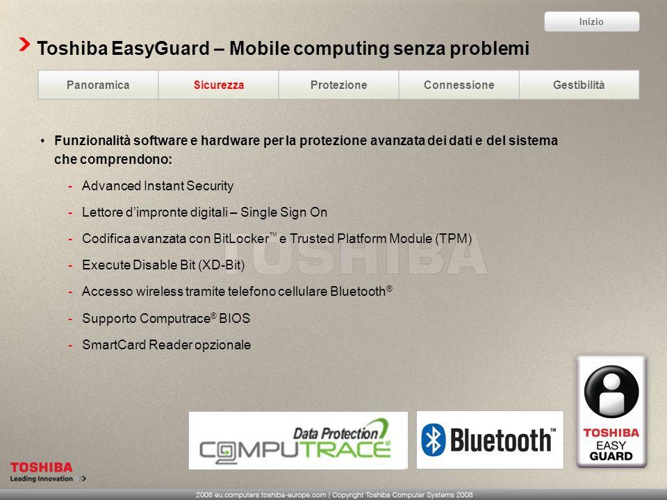 Toshiba EasyGuard – Mobile computing senza problemi Funzionalità software e hardware per la protezione avanzata dei dati e del sistema che comprendono
