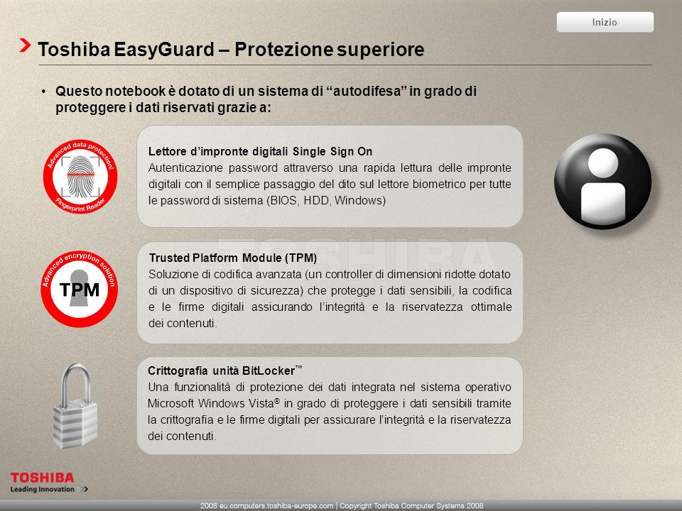 Toshiba EasyGuard – Protezione superiore Questo notebook è dotato di un sistema di autodifesa in grado di proteggere i dati riservati grazie a: Lettor