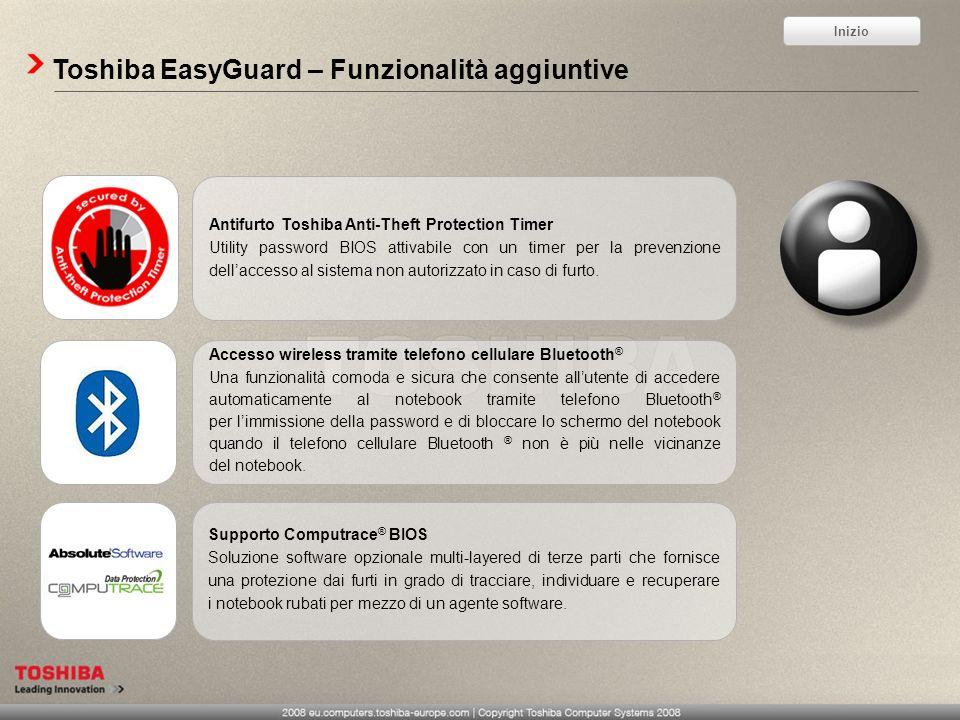 Toshiba EasyGuard – Funzionalità aggiuntive Accesso wireless tramite telefono cellulare Bluetooth ® Una funzionalità comoda e sicura che consente allu