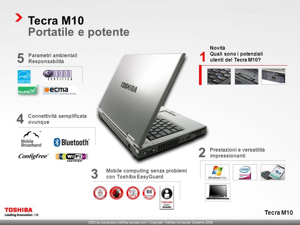 Novità Quali sono i potenziali utenti del Tecra M10? 1 Prestazioni e versatilità impressionanti 2 Mobile computing senza problemi con Toshiba EasyGuar
