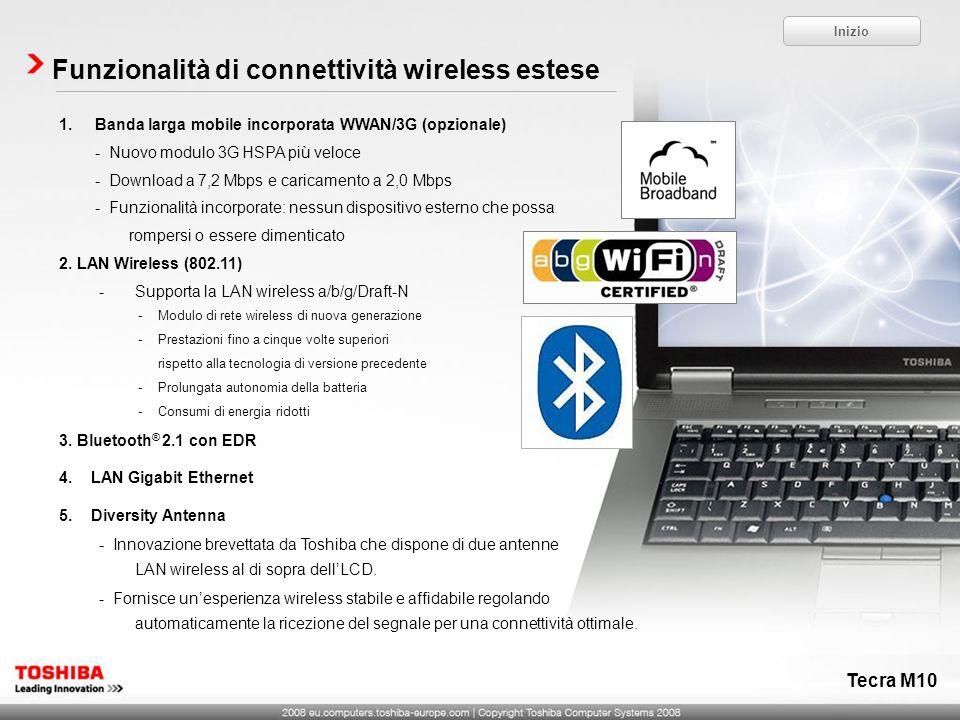 Tecra M10 Funzionalità di connettività wireless estese 1.Banda larga mobile incorporata WWAN/3G (opzionale) - Nuovo modulo 3G HSPA più veloce - Downlo