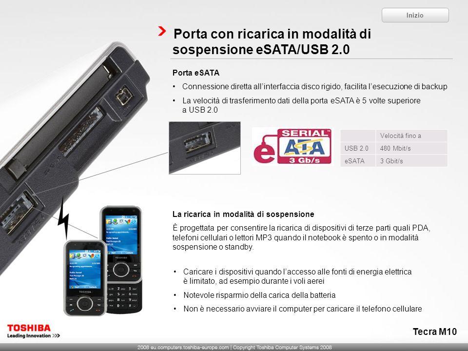 Porta con ricarica in modalità di sospensione eSATA/USB 2.0 Porta eSATA Connessione diretta allinterfaccia disco rigido, facilita lesecuzione di backu