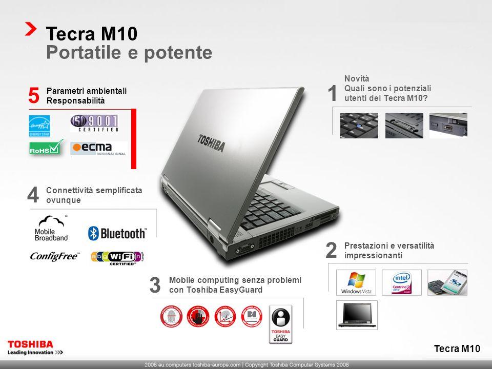 Mobile computing senza problemi con Toshiba EasyGuard 3 Prestazioni e versatilità impressionanti 2 Tecra M10 Portatile e potente Tecra M10 Connettivit