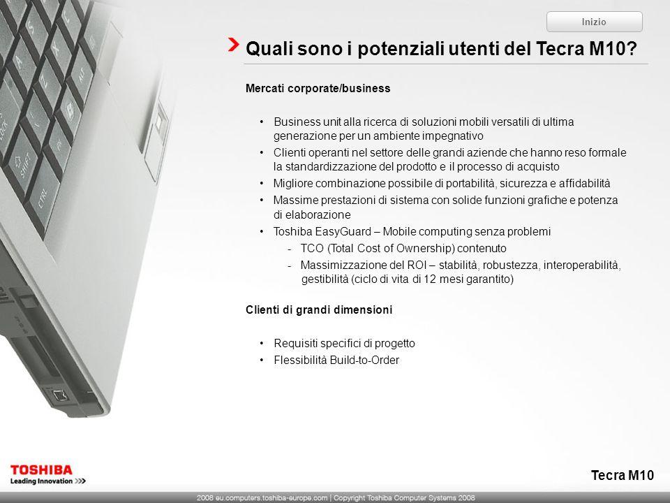 Quali sono i potenziali utenti del Tecra M10? Mercati corporate/business Business unit alla ricerca di soluzioni mobili versatili di ultima generazion