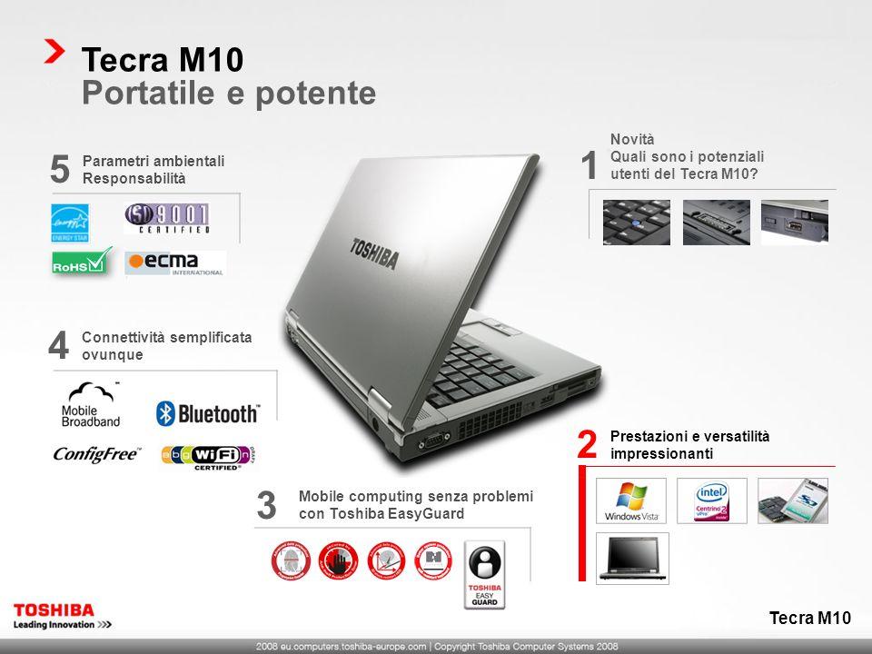 Prestazioni e versatilità impressionanti 2 Mobile computing senza problemi con Toshiba EasyGuard 3 Parametri ambientali Responsabilità 5 Tecra M10 Por