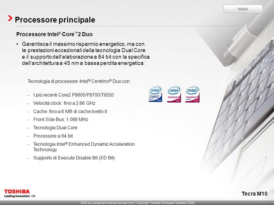 Processore Intel ® Core 2 Duo Garantisce il massimo risparmio energetico, ma con le prestazioni eccezionali della tecnologia Dual Core e il supporto d