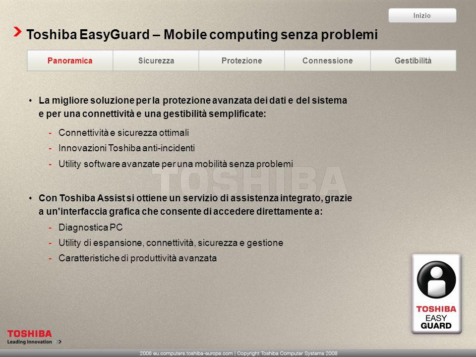 Toshiba EasyGuard – Mobile computing senza problemi PanoramicaSicurezzaProtezioneConnessioneGestibilità La migliore soluzione per la protezione avanza