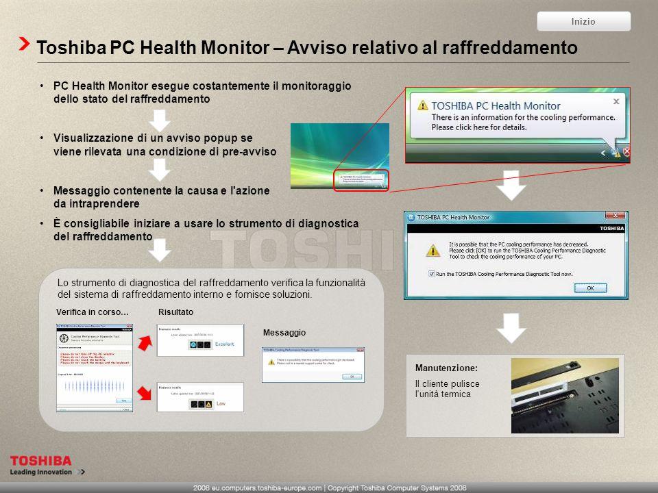 Toshiba PC Health Monitor – Avviso relativo al raffreddamento PC Health Monitor esegue costantemente il monitoraggio dello stato del raffreddamento Vi