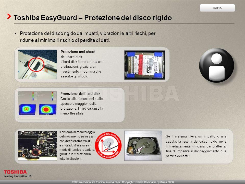 Toshiba EasyGuard – Protezione del disco rigido Protezione del disco rigido da impatti, vibrazioni e altri rischi, per ridurre al minimo il rischio di