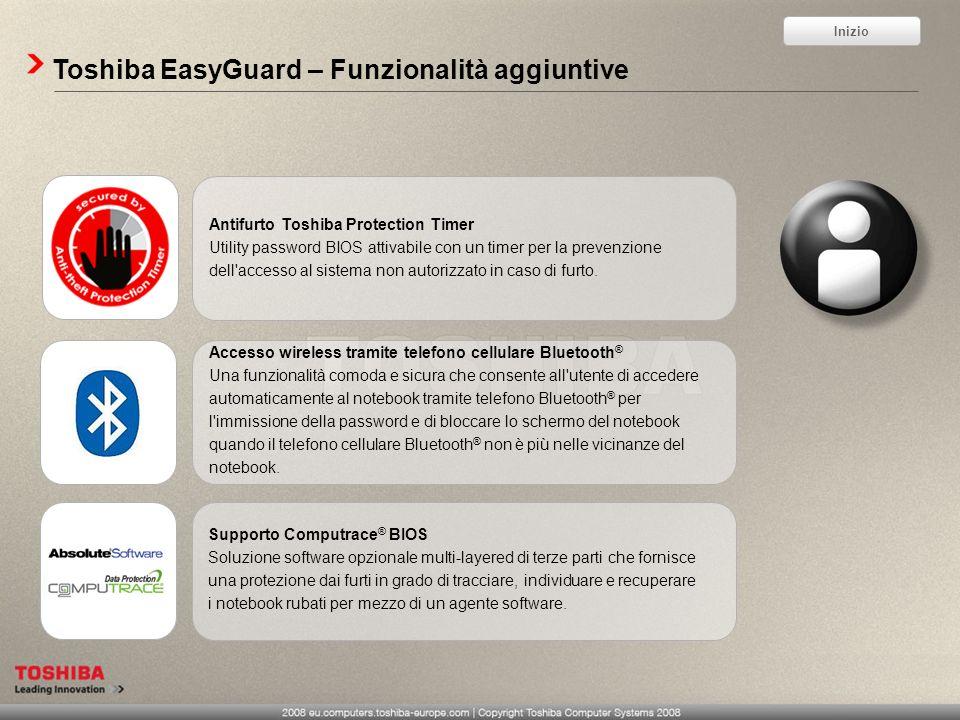 Toshiba EasyGuard – Funzionalità aggiuntive Accesso wireless tramite telefono cellulare Bluetooth ® Una funzionalità comoda e sicura che consente all'