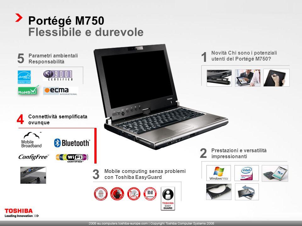 Prestazioni e versatilità impressionanti 2 Mobile computing senza problemi con Toshiba EasyGuard 3 Connettività semplificata ovunque 4 Parametri ambie