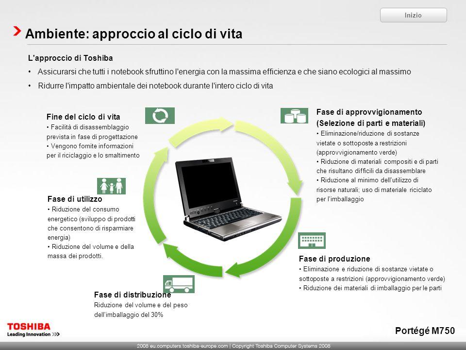 Ambiente: approccio al ciclo di vita L'approccio di Toshiba Assicurarsi che tutti i notebook sfruttino l'energia con la massima efficienza e che siano