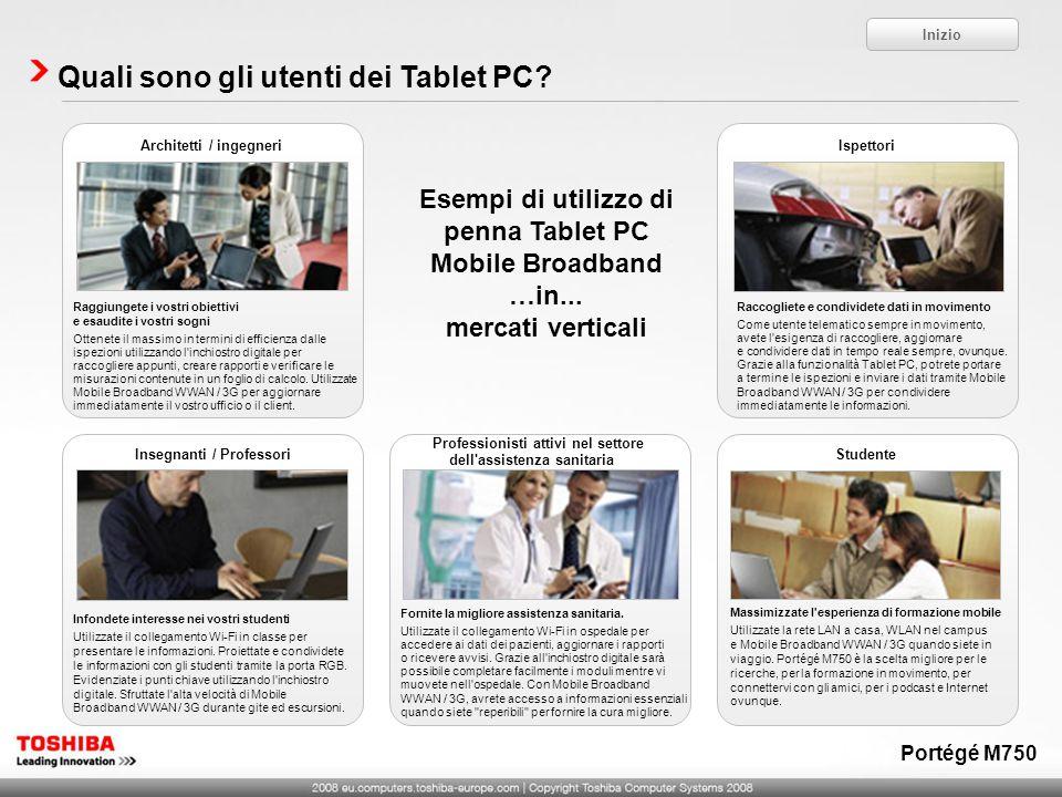 Quali sono gli utenti dei Tablet PC? Inizio Esempi di utilizzo di penna Tablet PC Mobile Broadband …in... mercati verticali Fornite la migliore assist